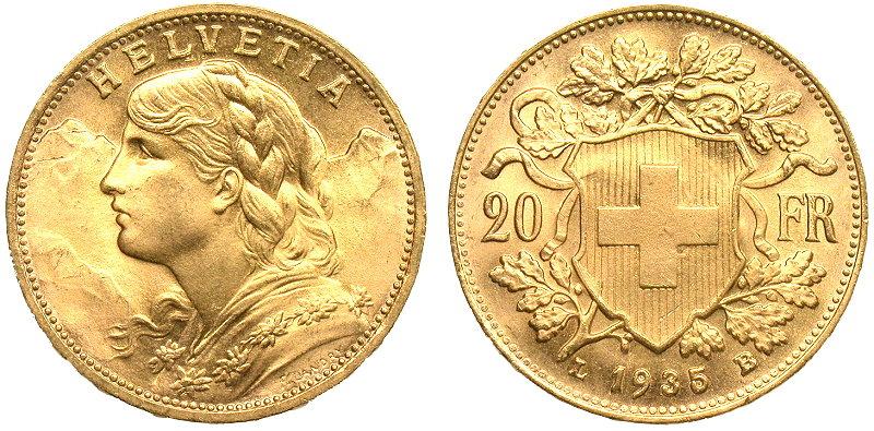 Swiss 20 Franc - .1867 Oz of Gold