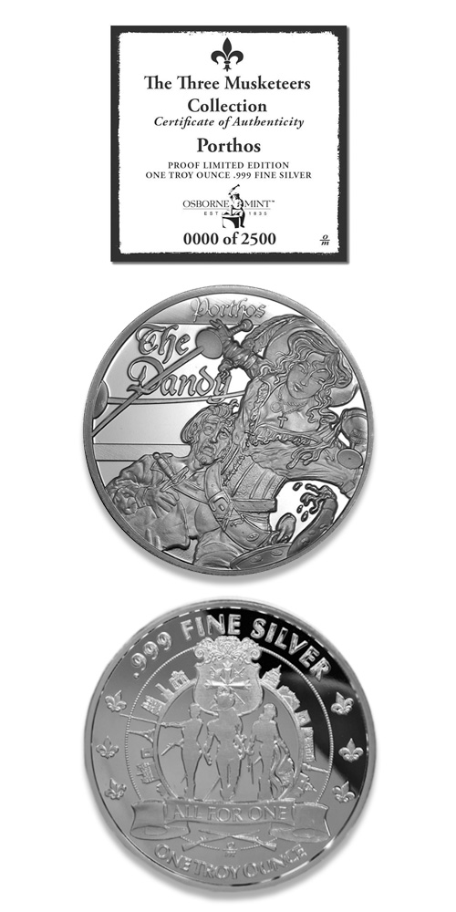 Three Musketeers Proof Silver Round Collection! (Porthos Design)