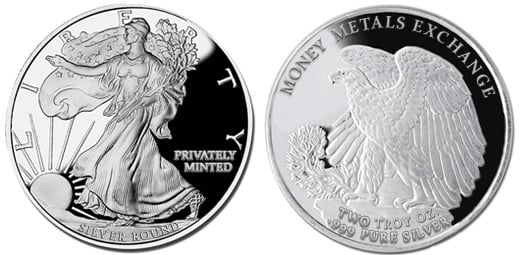 Walking Liberty Silver Round - 2 oz