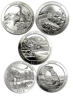 America The Beautiful - 5 oz Coin .999 Silver (Various Designs)