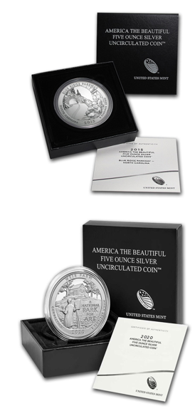 America The Beautiful - Uncirculated, Philadelphia Mint, with Box and COA -  5 oz Coin .999 Silver