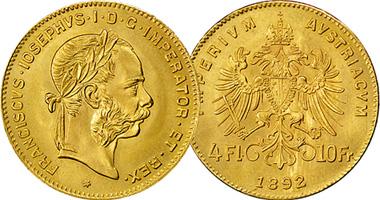 Great Deal!! 1892 Austrian 10 Franc/4 Florin Gold Coins - .0933 oz gold weight (Restrikes)