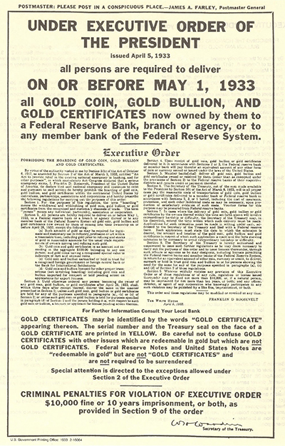 Ban on Gold Executive Order 6102