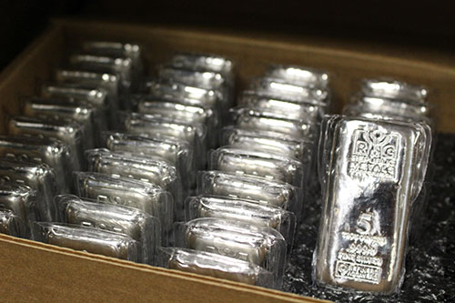 box of 5 oz silver bars