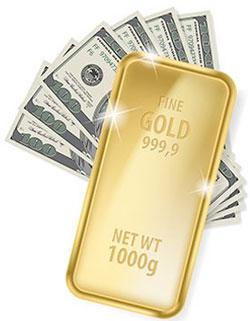 Gold Bar and Cash