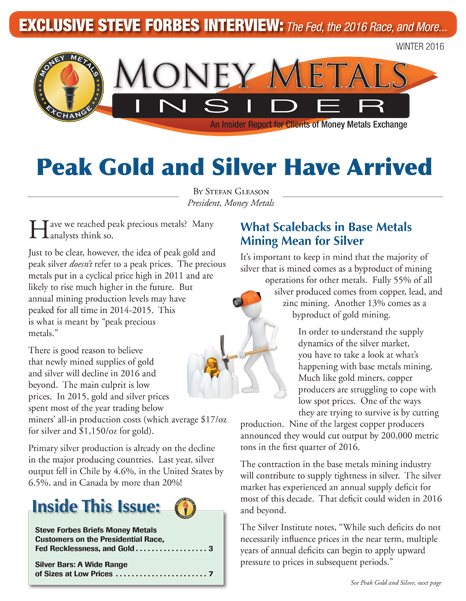 Money Metals Insider - Winter 2016