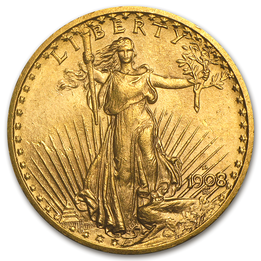 1908 No Motto $20 Saint Gauden