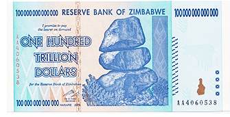 Zimbabwe One Hundred Trillion Dollar Bill