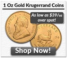 1 oz Gold Krugerrand Coins | As low as $39/oz over spot!