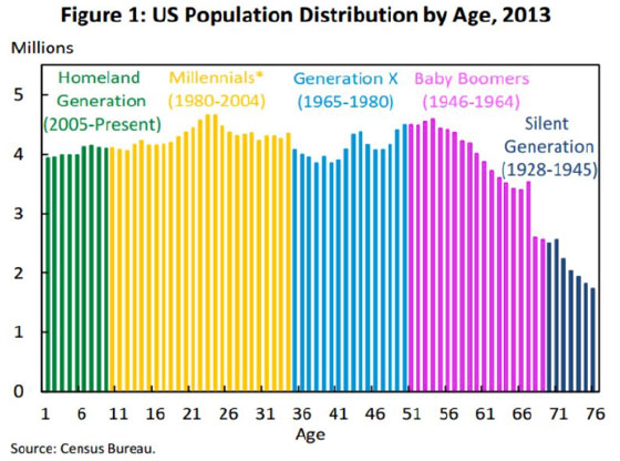 Figure 1: US Population Distribution by Age, 2013