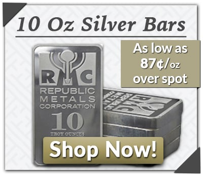May 2016: Overstock - 10oz Silver Bars