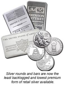 Silver rounds and bars are now the least backlogged and lowest premium form of retail silver available