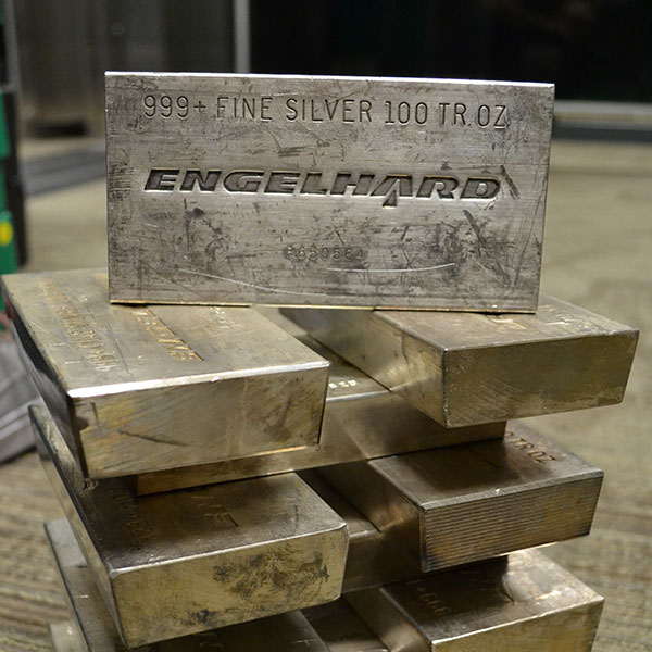 stacked englehard silver bars