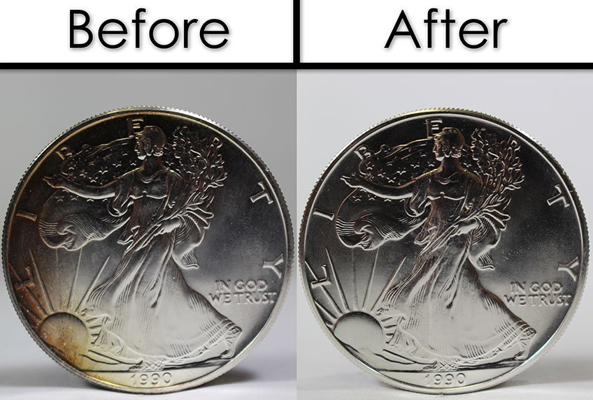 Tarnished Silver Eagles: Before and After Cleaning