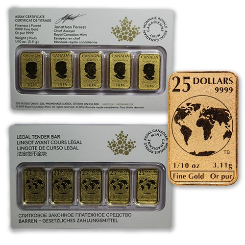 1/10th Ounce Canadian Mint Bars!