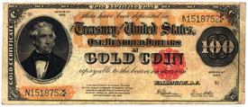 U.S. $100 Gold Coin Certificates