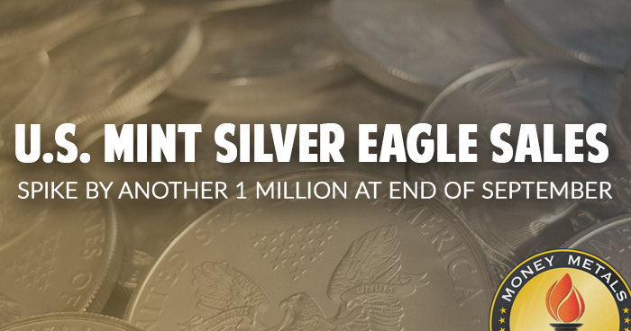 U.S. Mint Silver Eagle Sales Spike By Another 1 Million At End Of September