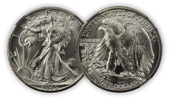 walking liberty half dollar front and back