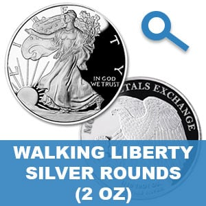 2 Oz Walking Liberty Silver Rounds
