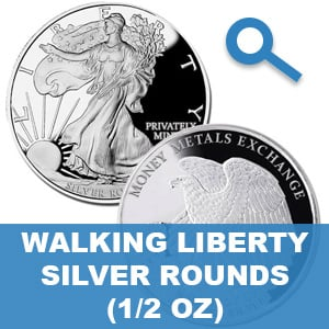 1/2 Ounce Walking Liberty Silver Rounds