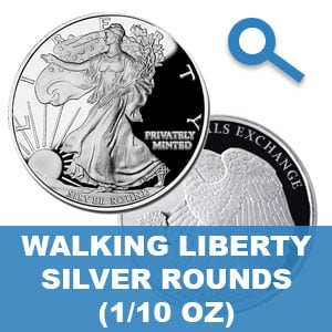 Walking Liberty 1/10 Ounce Silver Rounds